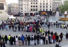 Living peace sign at Trafalgar Square - London