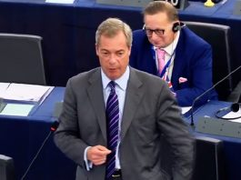 Nigel Farage at the EU parliament.