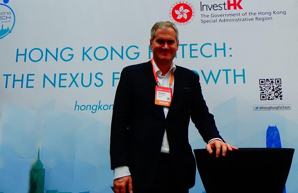 Invest HK Deputy Head of Fintech, Thorsten Terweiden, at Money Conf in Madrid.