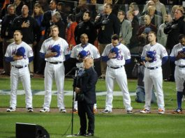 Billy Joel singing the National Anthem before-game 3 in the 2015 World Series