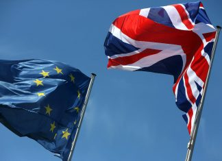United Kingdom and Euro flag.