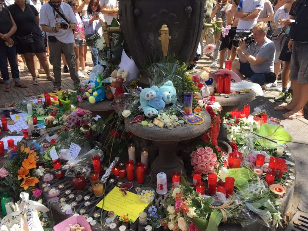 Las Ramblas memorial. Photo by: Evan McCaffrey