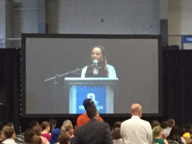 Civil rights activist Bree Newsome speaking at the community college in Syracuse.