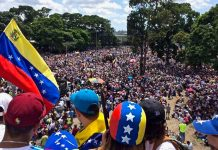 "Millions of Venezuelans marching on 20 May during the ""We Are Millions march""."