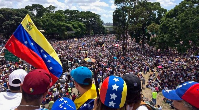 """Millions of Venezuelans marching on 20 May during the """"We Are Millions march""""."""