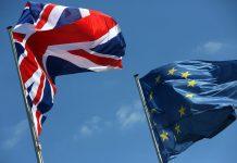 EU and UK flag.