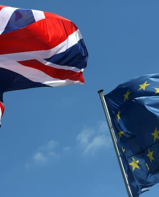 EU and UK flag.