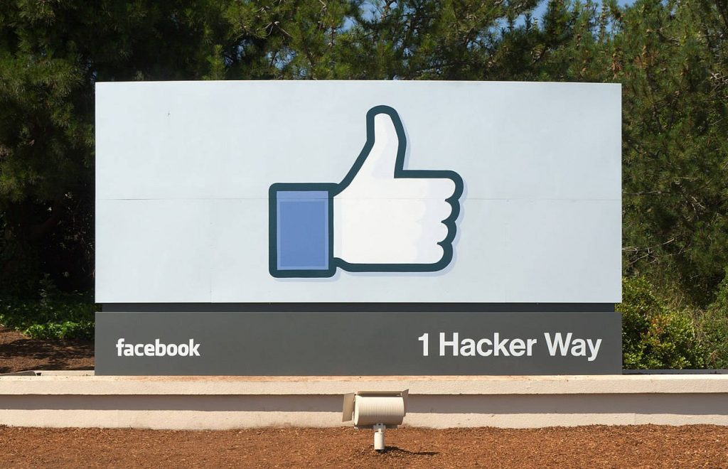 Facebook headquarters entrance sign in Menlo Park.