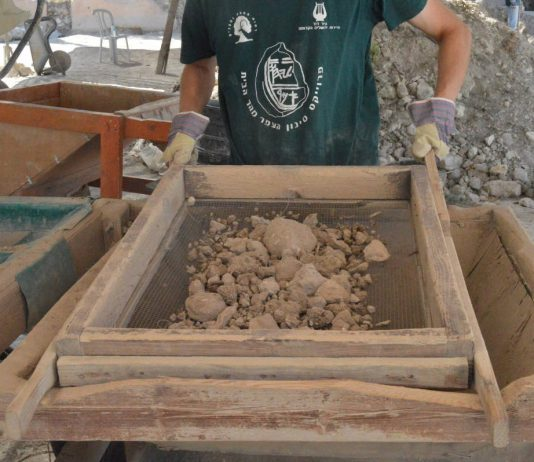 Sifting in front from some of the earth containing finds from the Temple Mount in Israel.