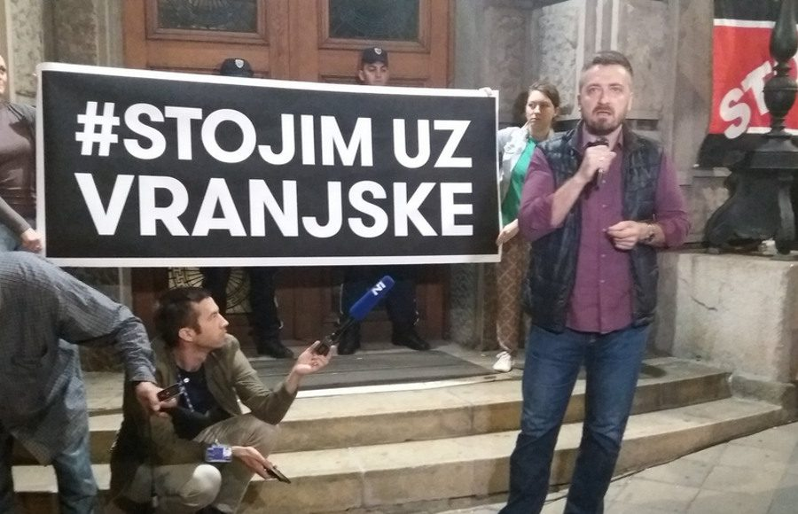 Rally for hunger striking editor-in-chief of the Vranjske newspaper.