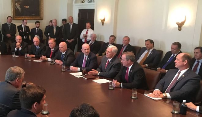 Donald Trump meeting with the Freedom Caucus. Photo by: White House.