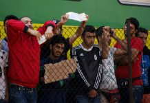 Syrian refugees strike at the platform of Budapest