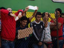 Syrian refugees strike at the platform of Budapest