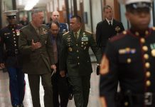 Gen. Joseph Dunford Jr. with Gen. Gatot Nurmantyo. Photo by: Navy Petty Officer 2nd Class Dominique A. Pineiro.