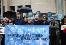Turkey: Human rights activists protest on 25 October 2017. Photo by: Lefteris Pitarakis, AP.