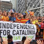 """New York protest """"Holding hands for Catalan independence"""". Photo by: Liz Castro."""