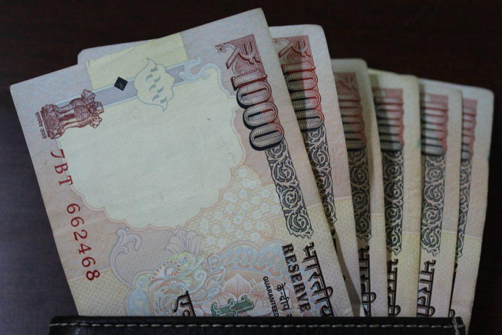 India: 1000-Rupee notes.
