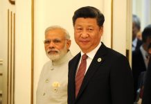 Indian Prime-Minister, Narendra Modi, and Chinese Prime Minister, Xi Jinping, at the Expanded Format Meeting of the Shanghai Cooperation Organisation Council of Heads of State. Photo by: www.kremlin.ru.