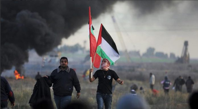 Clashes between the Israeli forces and Palestinian youth. East of Gaza city.