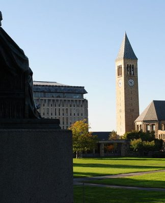 U.S. Cornell University. Arts Quad at Cornell University, with McGraw Tower in background. Photo by: Eustress.