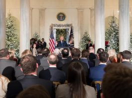 President Donald J. Trump announcing that Republicans in the U.S. House and Senate have agreed on a deal on Tax Reform legislation. Grand Foyer at the White House on December 13, 2017, in Washington, D.C.. Photo by: Official White House Photo by Stephanie Chasez. (Creative Commons Attribution 3.0 License)