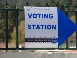 South Africa voting station sign.