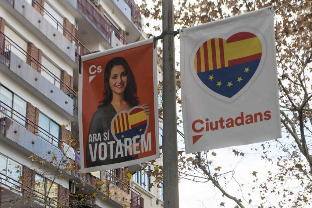 Campaign posters for Citizens–Party of the Citizenry, a center-right Spanish political party that originated in Catalonia. Photo by: Evan McCaffrey.