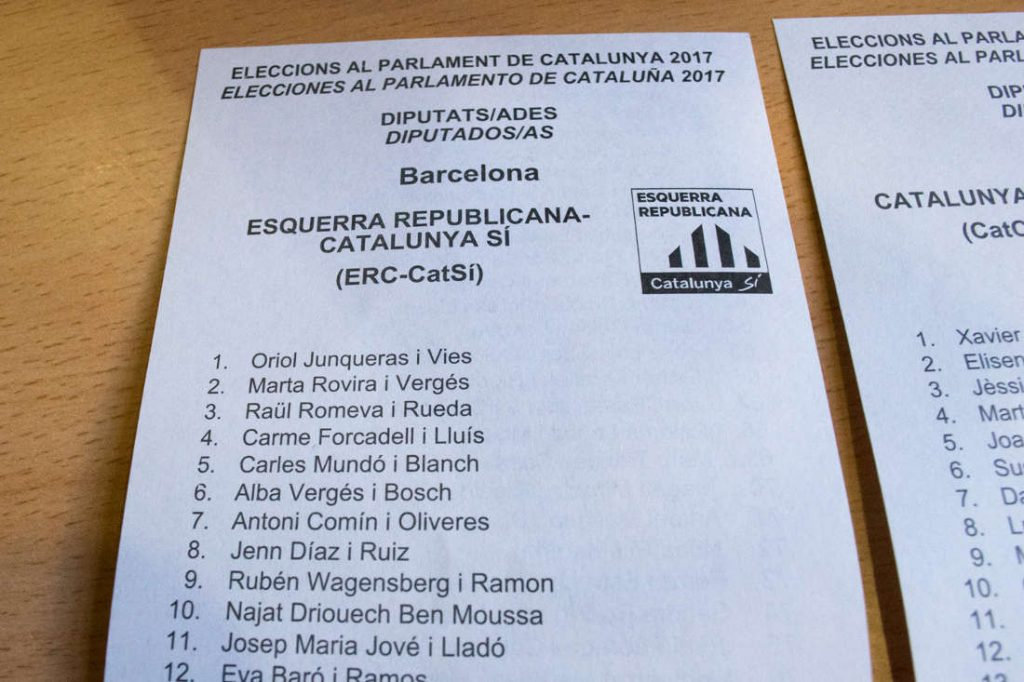 Party Esquerra Republicana Catalunya ballot. Photo by: Evan McCaffrey.