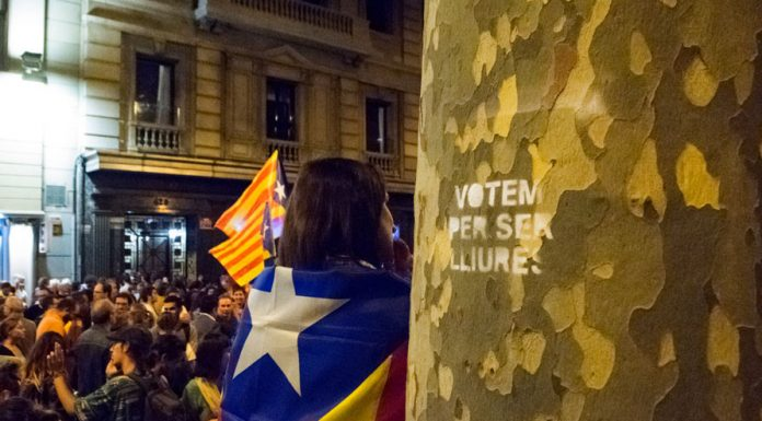 "Girl with Catalonia flag. Pro-Catalan Independence demonstrators organize before regional elections. ""Vote to be free"" is written on the tree. Photo by: Evan McCaffrey."