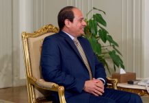 Egyptian President Abdel Fattah al-Sisi meets with U.S. Secretary of State John Kerry at the Presidential Palace in Cairo, Egypt, on April 20, 2016. Photo by: US State Department (Public Domain)