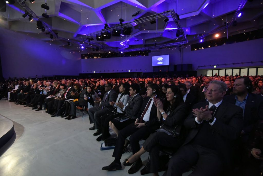 World Economic Forum audience in Davos. Photo by: Narendra Modi's tweet.