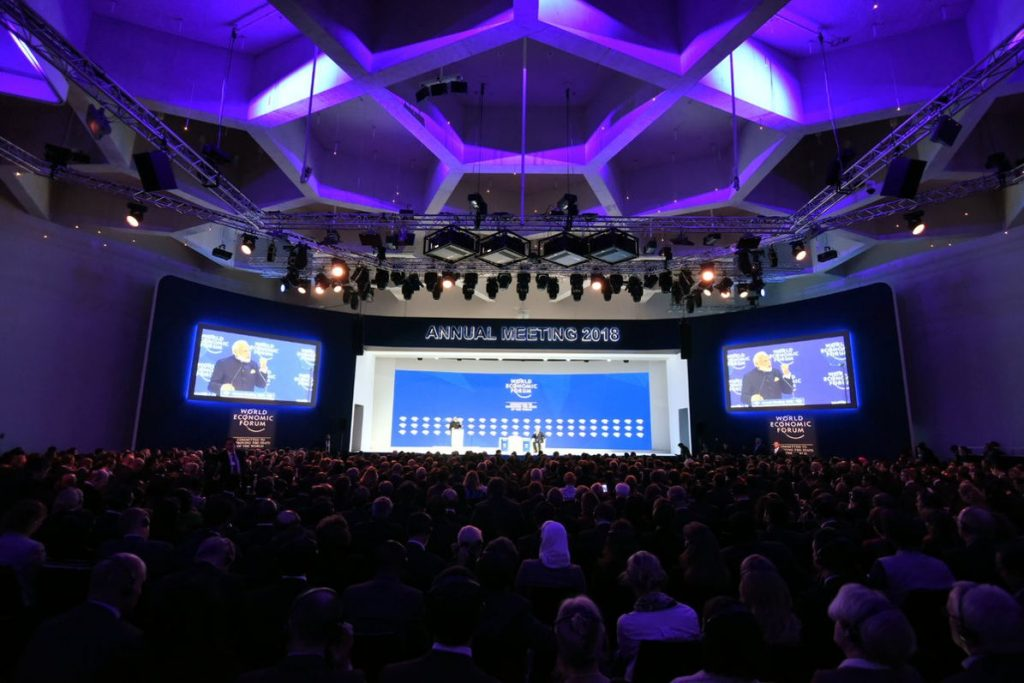 World Economic Forum stage in Davos. Photo by: Narendra Modi's tweet.