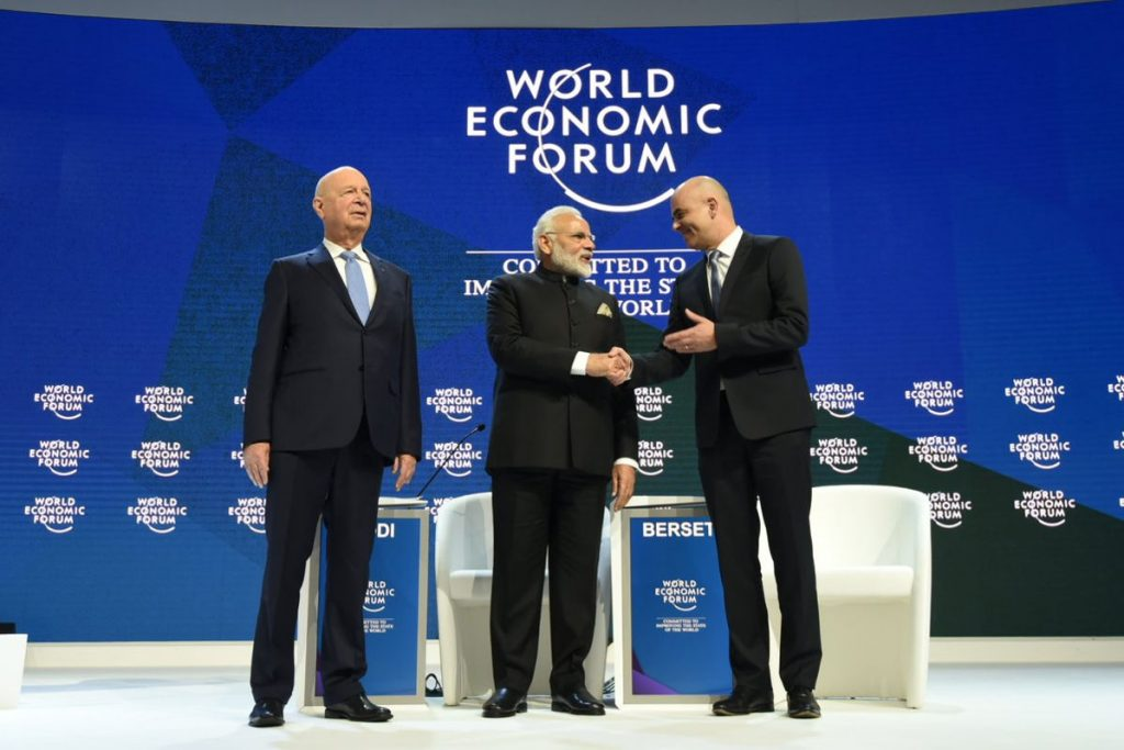 World Economic Forum in Davos. From left to right:Klaus Schwab (Founder and Executive Chairman of the World Economic Forum), India's Prime Minister Narendra Modi, and Alain Berset (President of the Swiss Confederation 2018 and Federal Council of Home Affairs of Switzerland. Photo by: Narendra Modi's tweet.