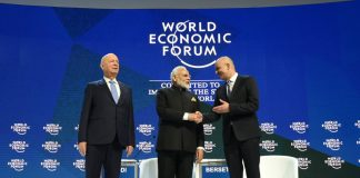 World Economic Forum in Davos. From left to right: Klaus Schwab (Founder and Executive Chairman of the World Economic Forum), India's Prime Minister Narendra Modi, and Alain Berset (President of the Swiss Confederation 2018 and Federal Council of Home Affairs of Switzerland. Photo by: Narendra Modi's tweet.