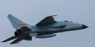 Xian JH-7 fighter bomber aircraft. Photo by Alert5.