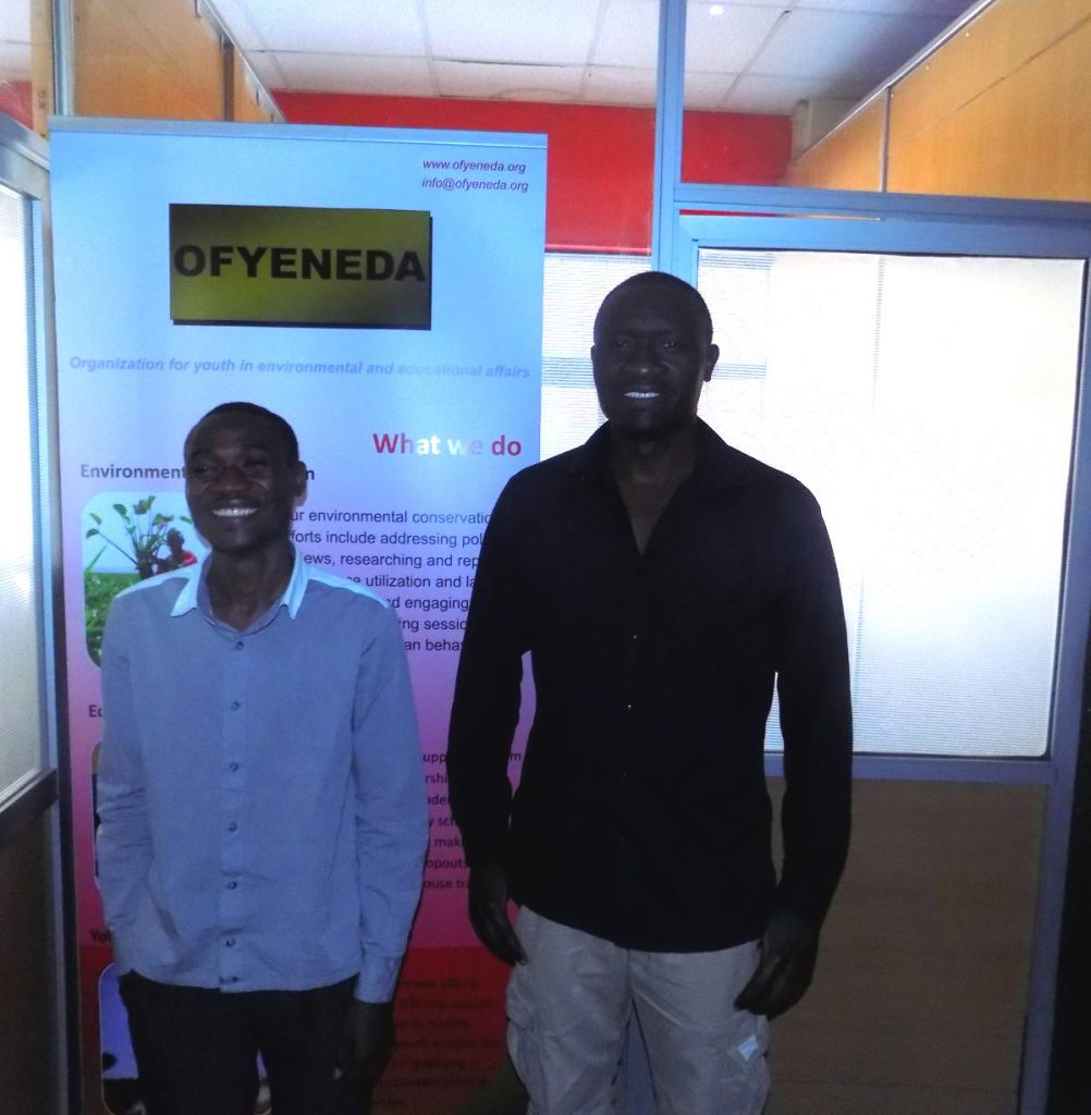 Moses Otieno (left) with Ofyeneda CEO Daniel Kashem at their offices in Nairobi. Photo by: Ronnie Evans.