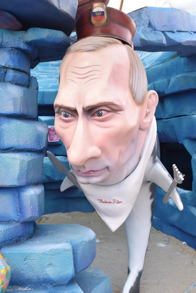Vladimir Putin depicted as a shark in a Portuguese carnival. Photo by: Torres Vedras City Hall.
