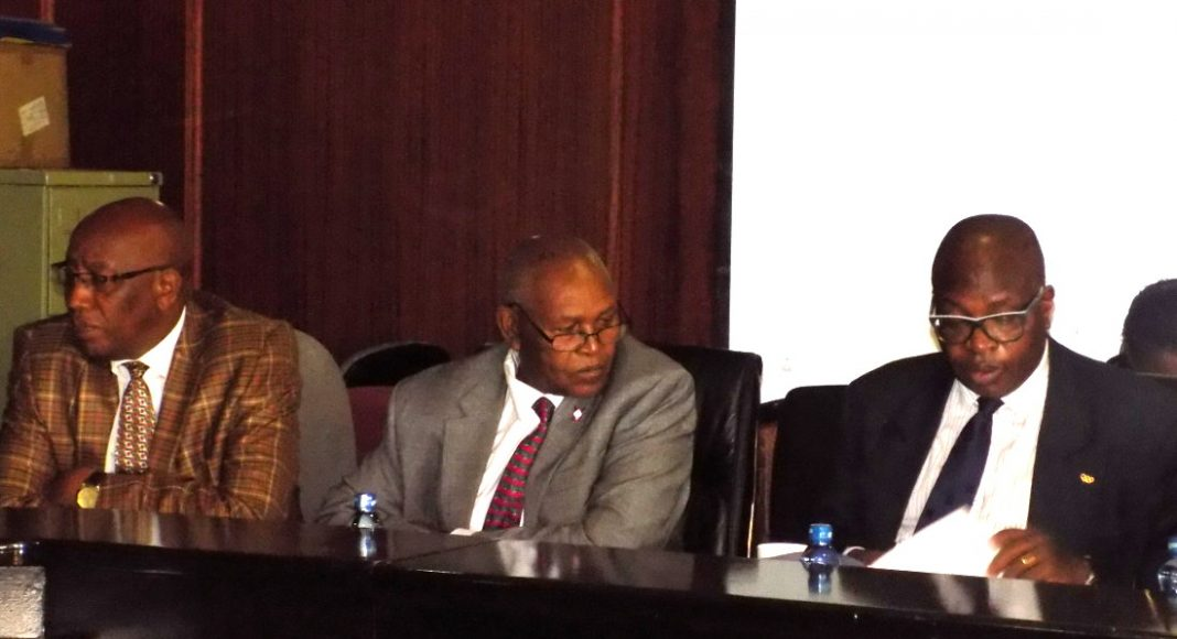 NOCK officials James Chacha (far left), Kipchoge Keino (centre) and Stephen Soi when they appeared before a previous parliamentary committee. Photo by: Ronnie Evans.
