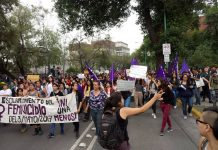 Femicide Protest: Lesby Berlin Osorio was murdered on May 3, 2017, in the gardens of the University City of the UNAM, Mexico City. Photo by: Cris Castillo Vel.
