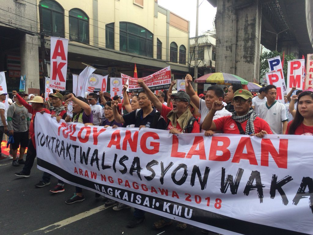 Protesters arrive in Mendiola street. Historic moment for the labor union in Philippines. Photo by: Janess Ann J. Ellao.