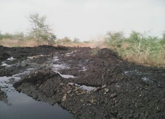 The pipe was repaired, but the contaminant was left in the environment. Photo by: Nile Institute of Environmental Health.