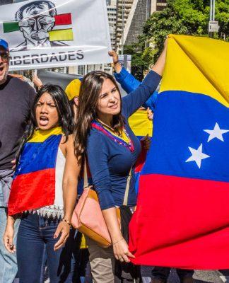 Protests opposing Bolivarian Revolution in São Paulo, Brazil.