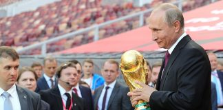 Vladimir Putin gave the start to the FIFA World Cup Trophy Tour at the Luzhniki Stadium. Photo by: Kremlin.ru.