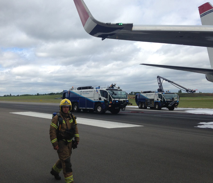 Birmingham Airport fireman. Photo by: Via News.