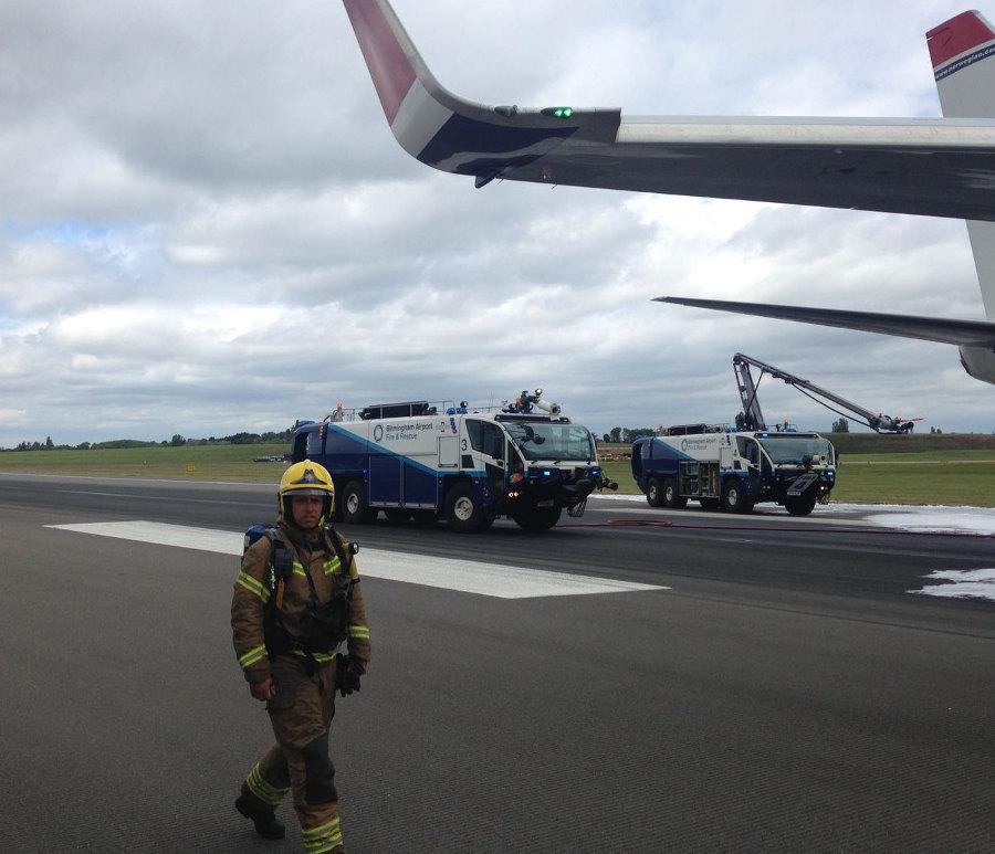 Birmingham Airport fireman. Photo by: Via News.
