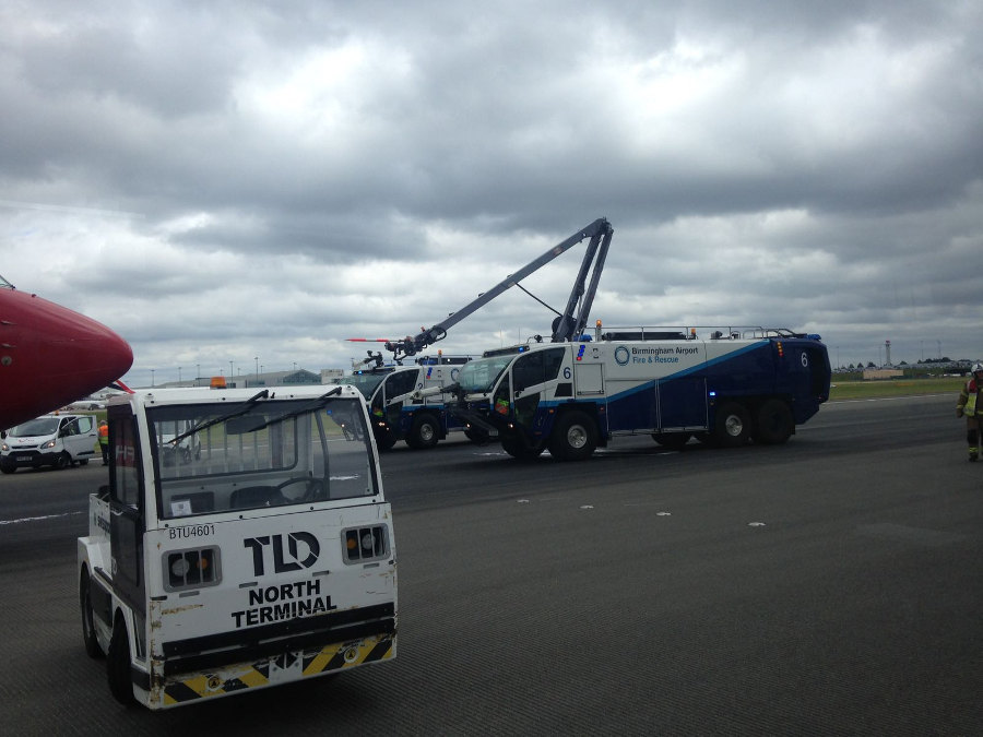 Birmingham Airport Fire and Rescue trucks. Photo by: Via News.