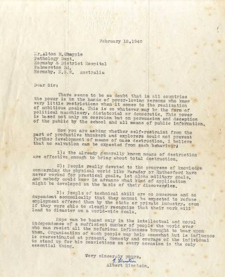 18 February 1949 letter. Einstein reply to Dr Alton R. Chapple.