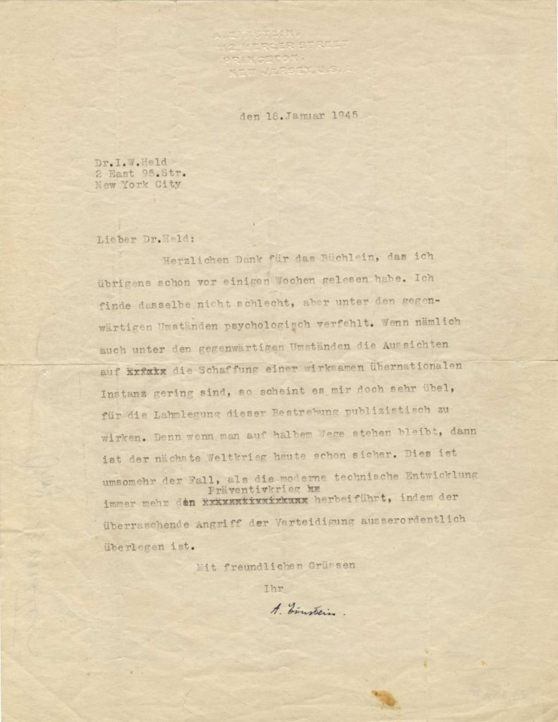 January 18, 1945 letter, Einstein writes a response to Dr Held.