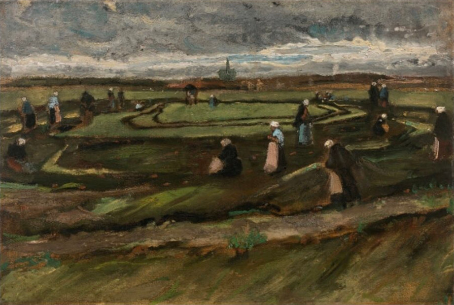 Vincent van Gogh early work. 1882 painting Fishing Net Menders in the Dunes (Raccommodeuses de filets dans les dunes). Photo by: Artcurial.