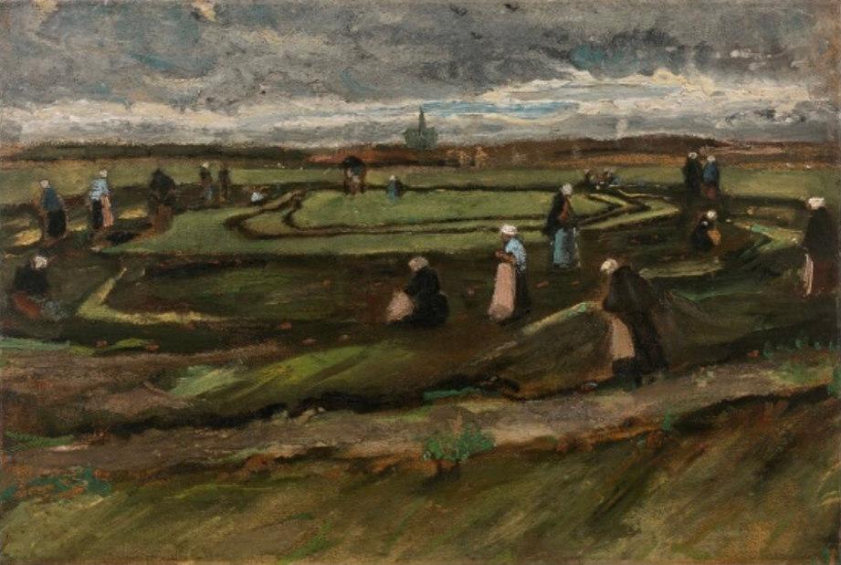 Vincent van Gogh early work. 1882 painting Fishing Net Menders in the Dunes (Raccommodeuses de filets dans les dunes). Photo by: Artcurial.